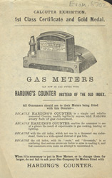 Advert For Harding's Gas Meter